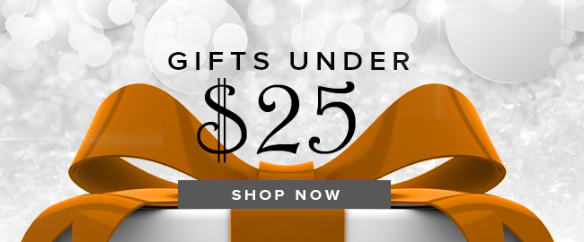 Holiday theme background with picture of box with bow. Gifts Under $25. Click to shop now.